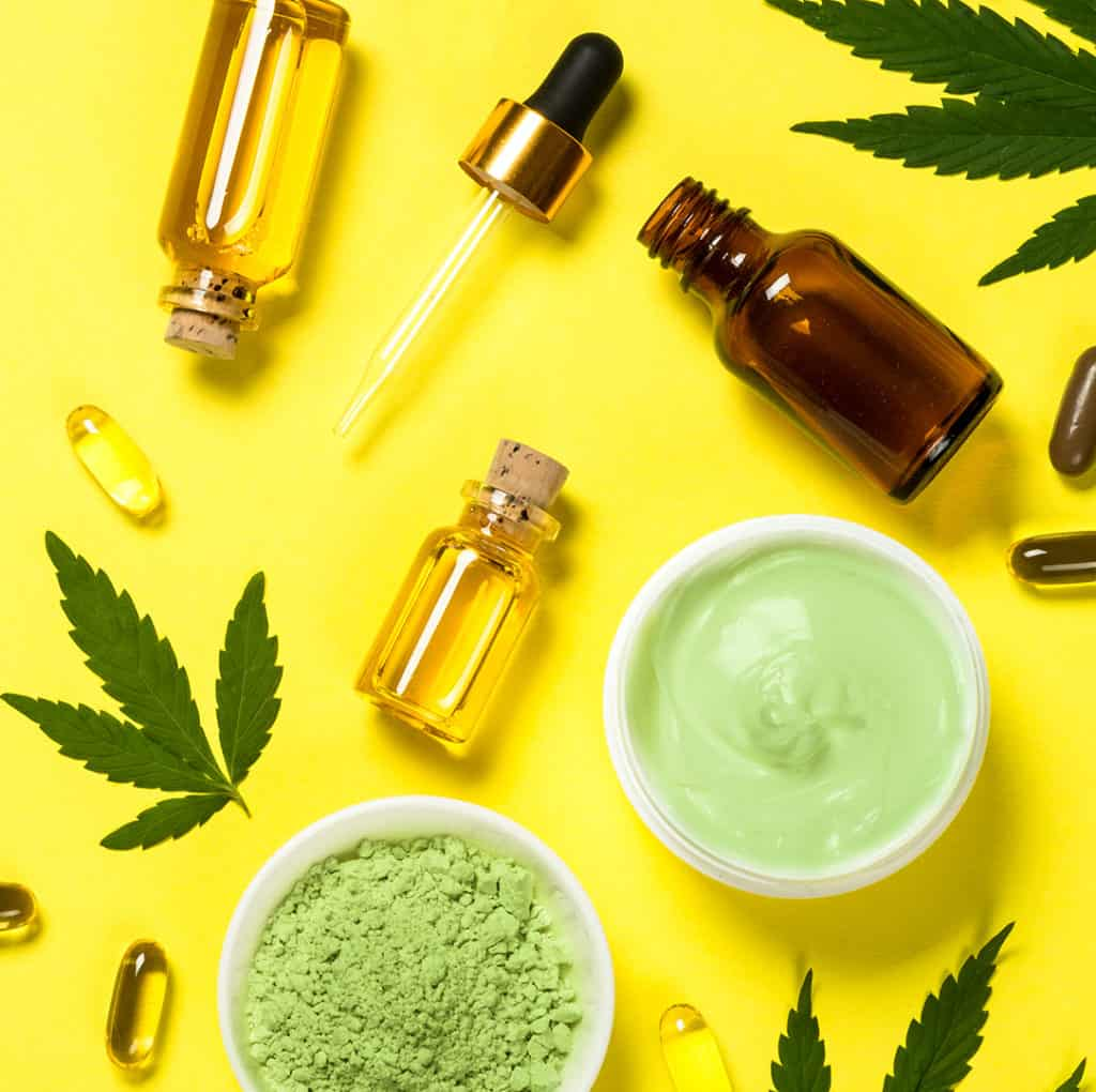 CBD as oil, capsules. lotion, and powder form